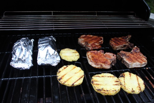 Potato packets on the grill. Everything cooks in about the same time..