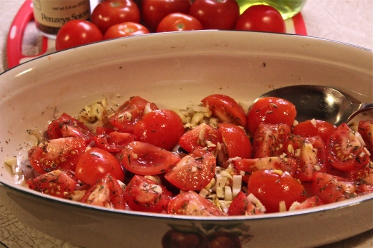 Tomatoes and seasonings ready for roasting.
