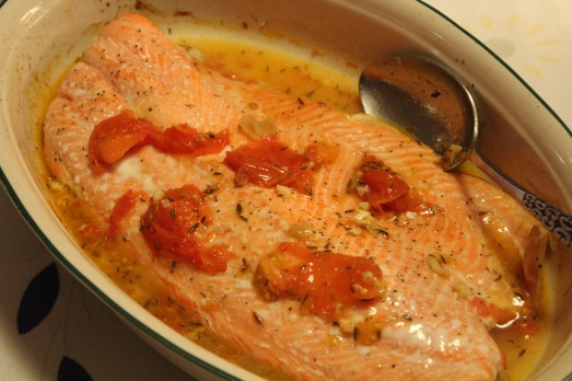 Salmon with Roast Tomatoes and Onions