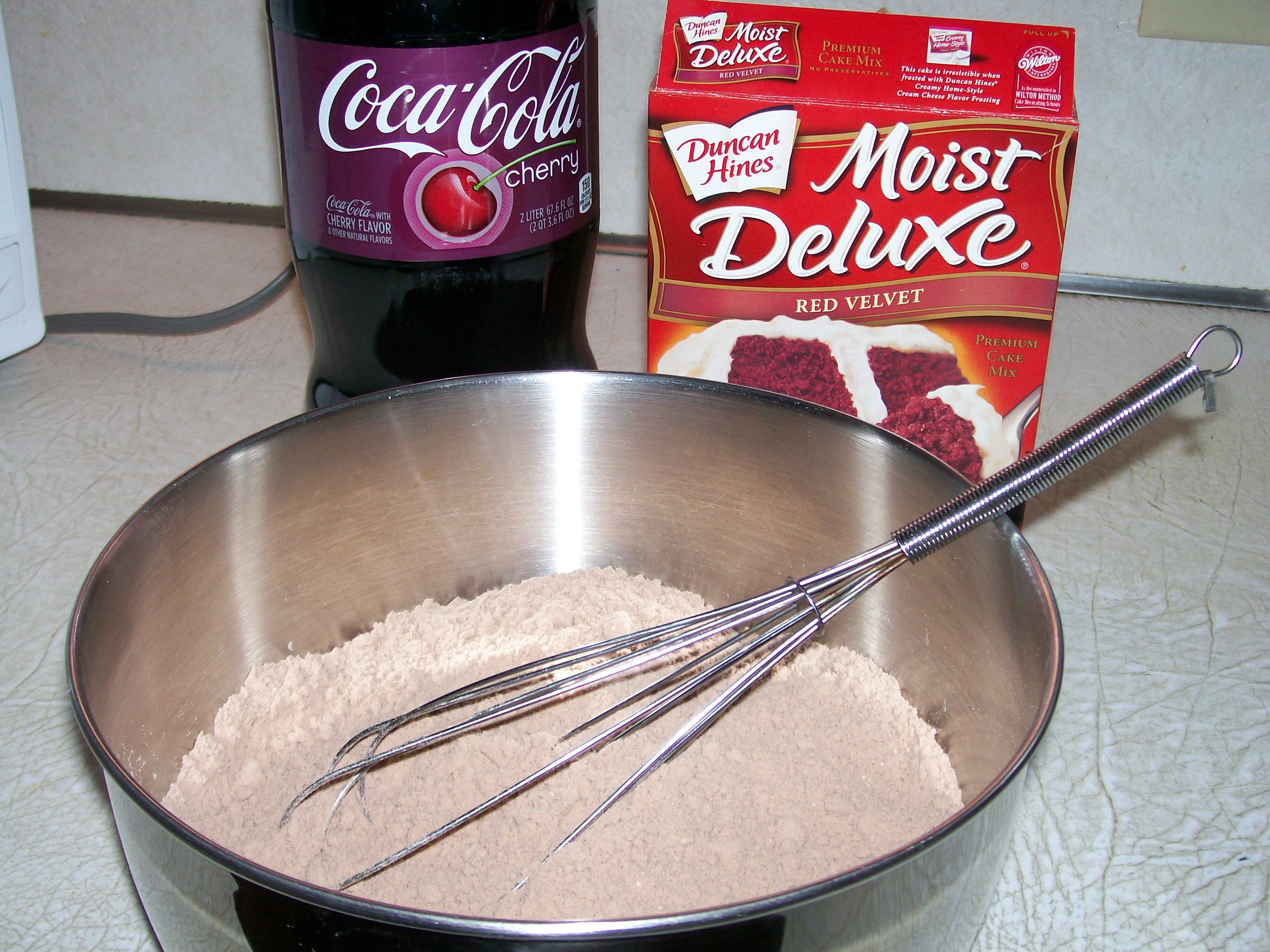 Boxed Cake Mix And A Can Of Soda