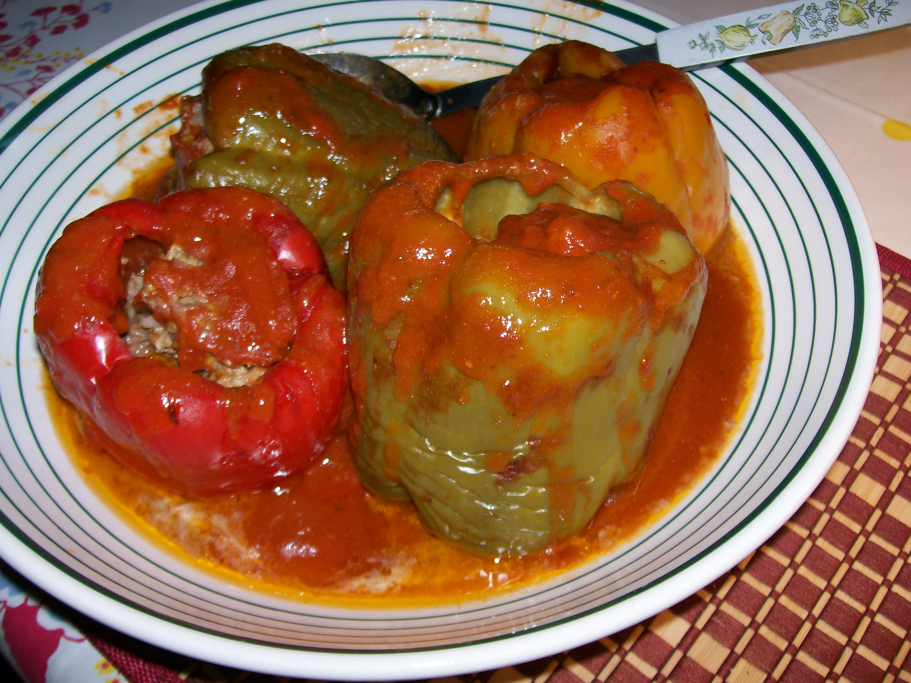 how to cook stuffed peppers with rice