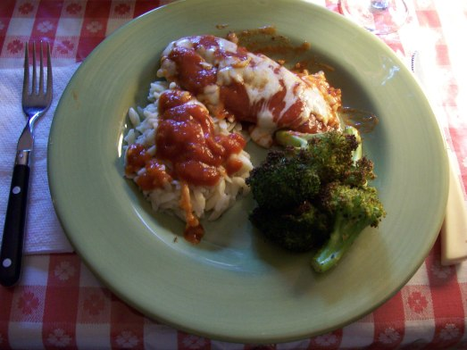 Chicken Parmesan with Orzo and Broccoli