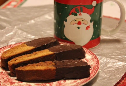 Chocolate-dipped gingerbread biscotti