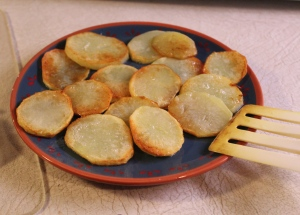 Golden brown potatoes.