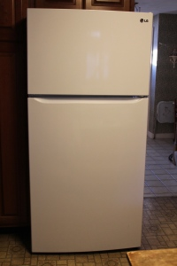 The new refrigerator.  YEAH!