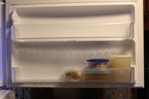 Freezer door;  two deep shelves.