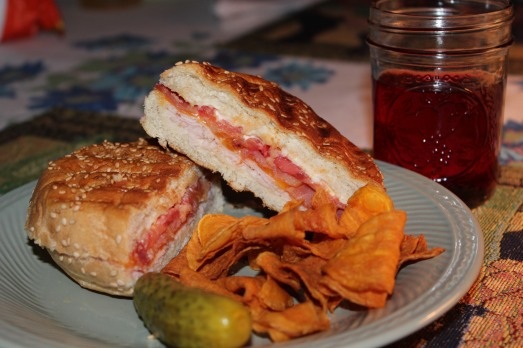 Grilled turkey, bacon, cheese and tomato panini.
