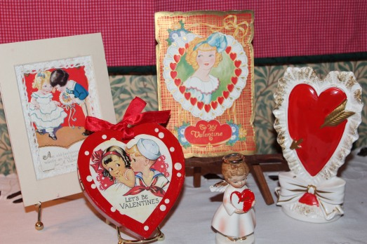 Vintage valentines and an old vase.