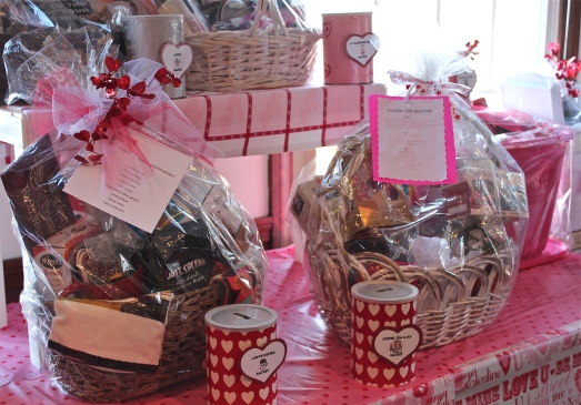 Over 20 raffle baskets were on display.