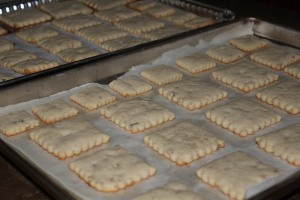 Cookies cooling before frosting.