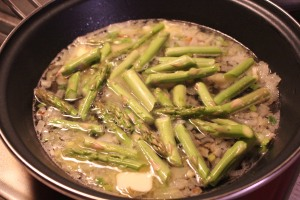 White wine, butter and asparagus added.