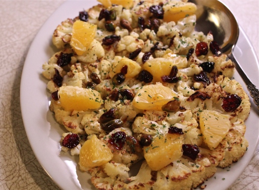 Roast Cauliflower with Clementines, Cranberries, and Pistachios