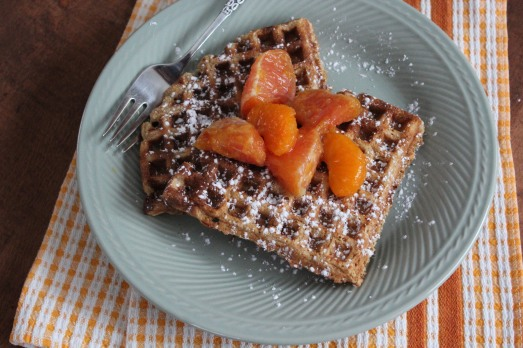 Citrus Waffles with Orange Compote