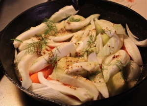 Place vegetables on the bottom of the pan.
