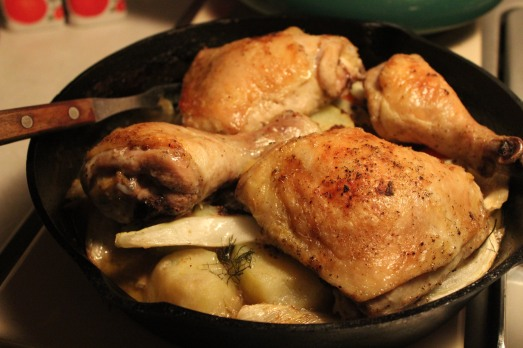 Moist, tender chicken and flavorful vegetables.