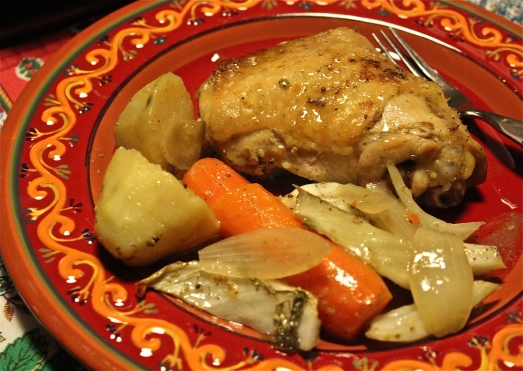 Roast chicken with vegetables, a one-pan meal.