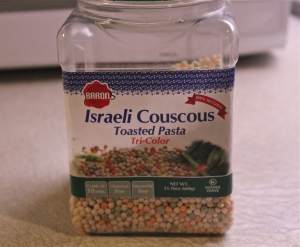 Israeli Couscous, tri-colored.