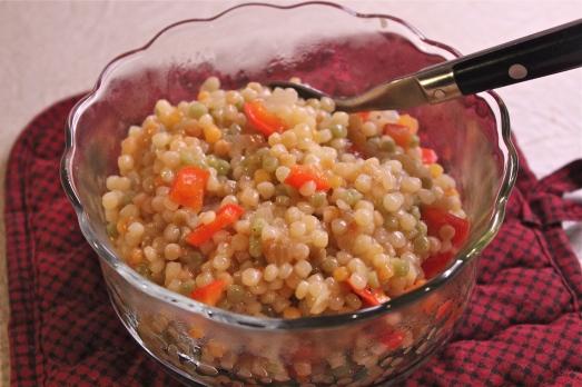 Israeli couscous pilaf.