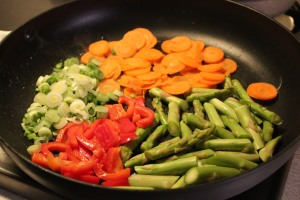 A colorful combinations of vegetables.