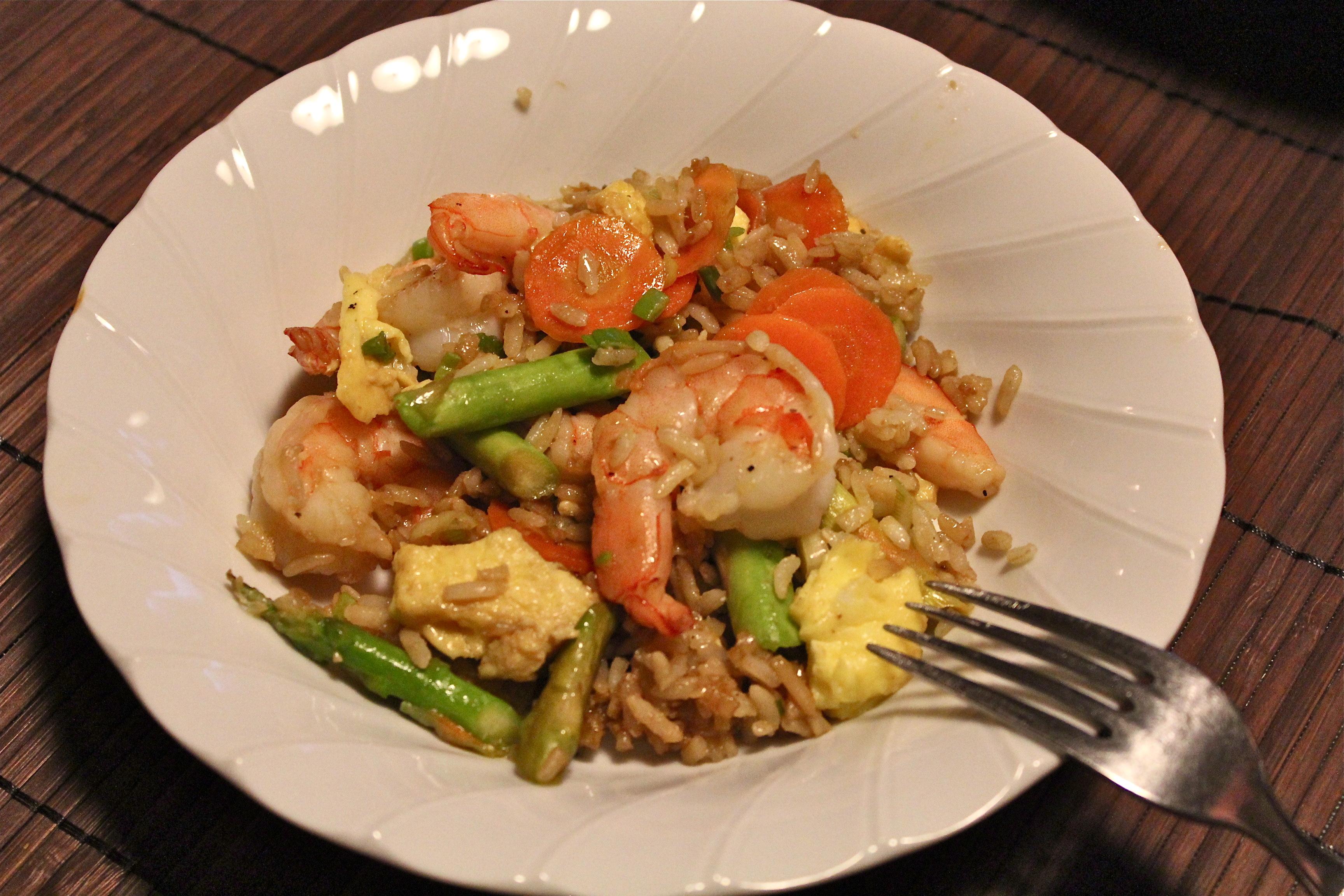 how to make garlic shrimp fried rice
