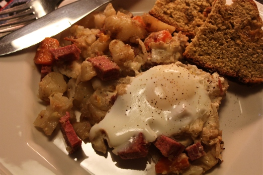 Serve each portion of hash with an egg.