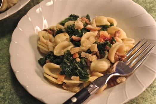 Orecchiette with kale and breadcrumbs (and sausage).
