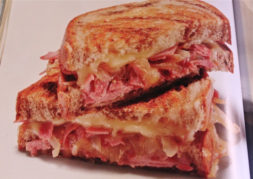 Grilled Corn Beef and Cheese Sandwich.