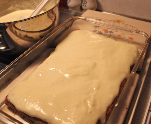 Spread with half the cream cheese mixture.