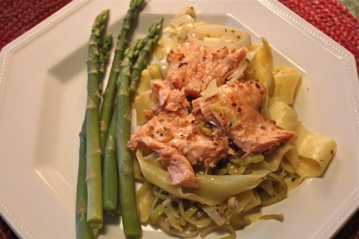 Pappardelle, with salmon and leeks.