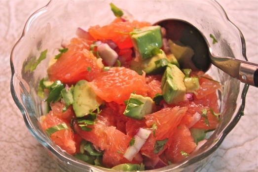 Grapefruit and avocado salsa.