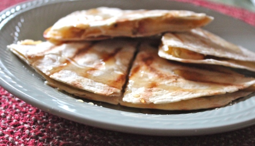 Apples, bacon and cheese quesadillas.  A lovely combination.
