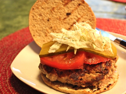 Grilled Turkey Burgers with Coleslaw and Pickles.