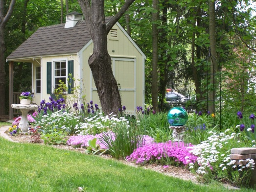 My perennial garden with garden house.