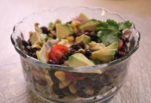 Corn and black bean salad with avocados.