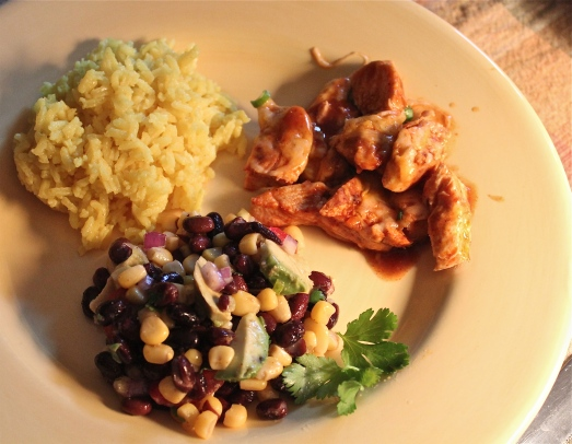 The menu included Mexican Chicken, yellow rice, and corn and black bean salad.