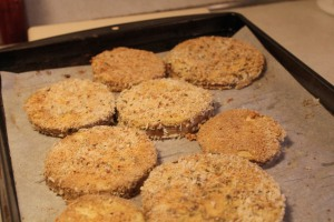 Eggplant slices breaded and already baked.