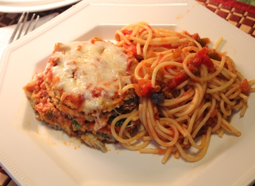 Eggplant Parmesan and pasta.