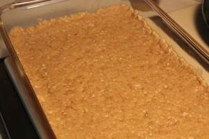 Cookie crumb crust in the pan.