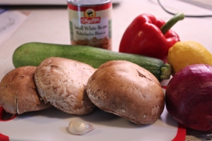 Ingredients for a meatless meal on the grill.