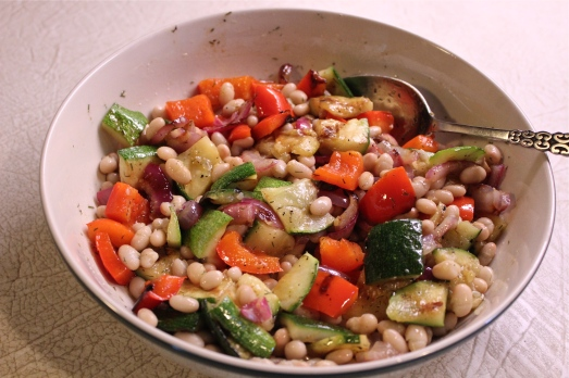 Chop the veggies and add to the beans and dressing.