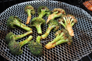 Broccoli goes on first to get a head-start on cooking.