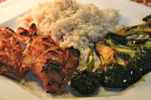 Hoisin BBQ Chicken and Broccoli with Rice Pilaf.