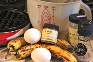 Typical ingredients for banana bread.