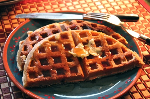 Waffles for breakfast.  What a treat!