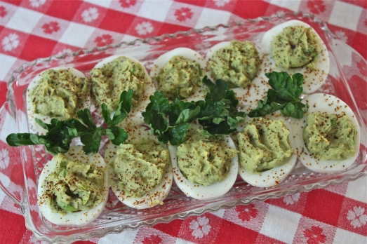 Bacon guacamole deviled eggs,  awesome!