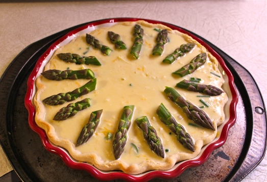 I used the asparagus tips to decorate the top.