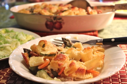 The edges of the pasta get brown and crispy with cheese.   Yum!