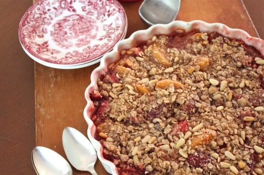 Strawberry and apricot crisp.