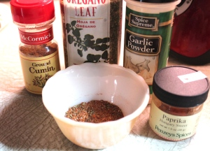 Season the chicken with a rub made from these herbs and spices.