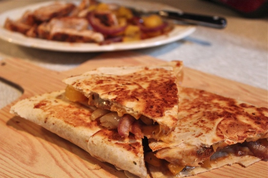 Grilled chicken and vegetable quesadillas.
